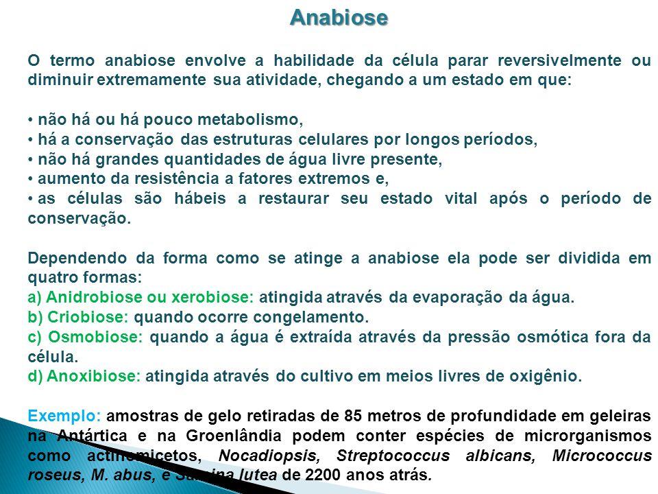 Anabiose O termo anabiose envolve a habilidade da célula parar reversivelmente ou diminuir extremamente sua atividade, chegando a um estado em que: nã