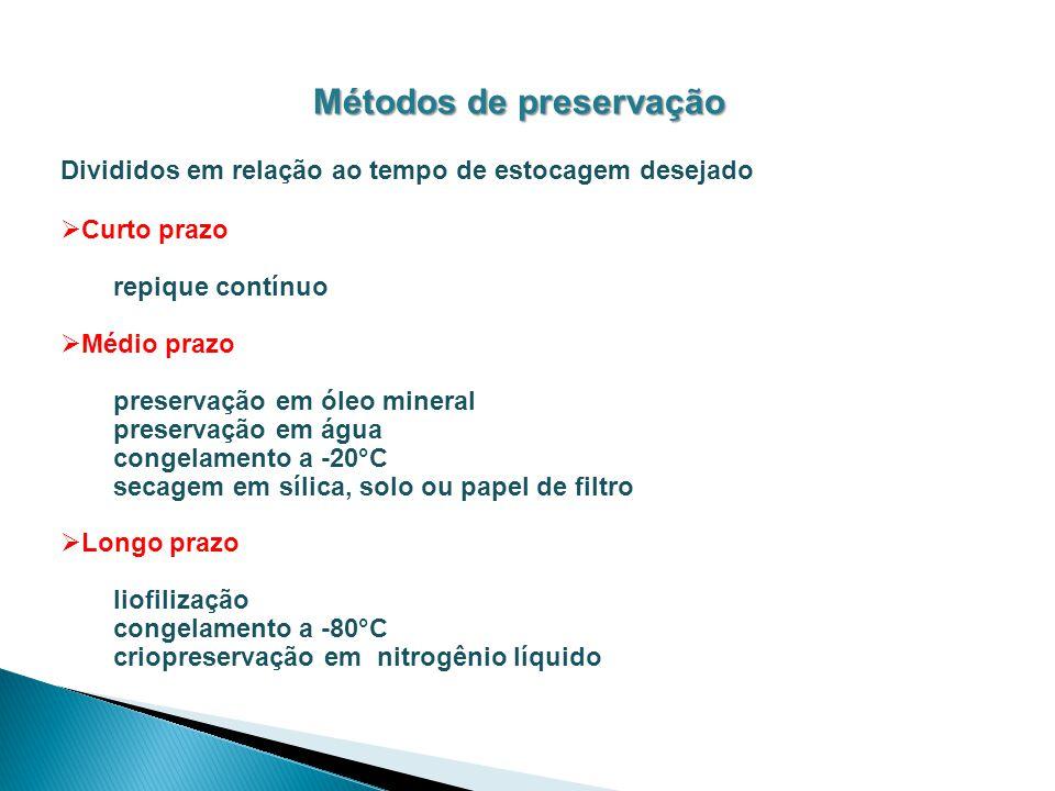 Métodos de preservação Divididos em relação ao tempo de estocagem desejado Curto prazo repique contínuo Médio prazo preservação em óleo mineral preser