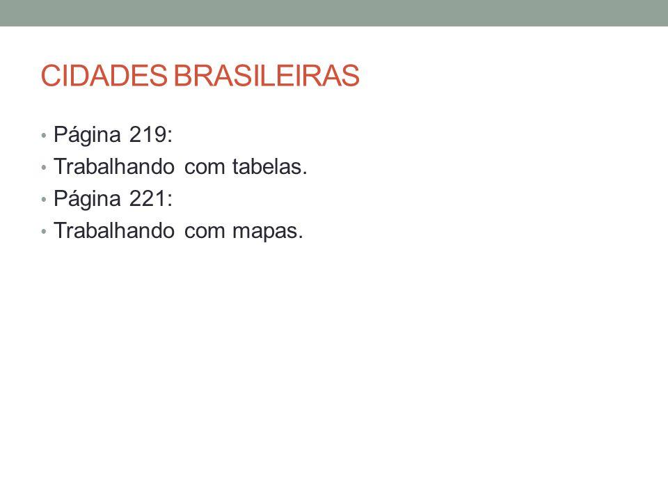 CIDADES BRASILEIRAS Página 219: Trabalhando com tabelas. Página 221: Trabalhando com mapas.