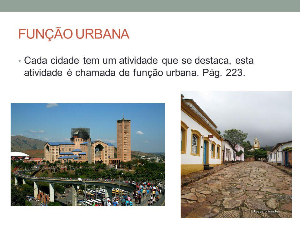 FUNÇÃO URBANA Cada cidade tem um atividade que se destaca, esta atividade é chamada de função urbana. Pág. 223.