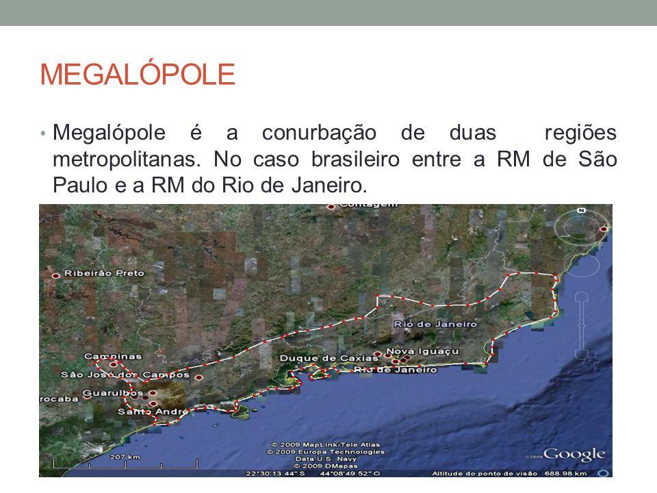 MEGALÓPOLE Megalópole é a conurbação de duas regiões metropolitanas. No caso brasileiro entre a RM de São Paulo e a RM do Rio de Janeiro.