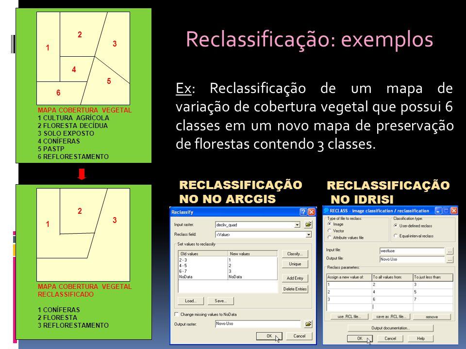Ex: Reclassificação de um mapa de variação de cobertura vegetal que possui 6 classes em um novo mapa de preservação de florestas contendo 3 classes.