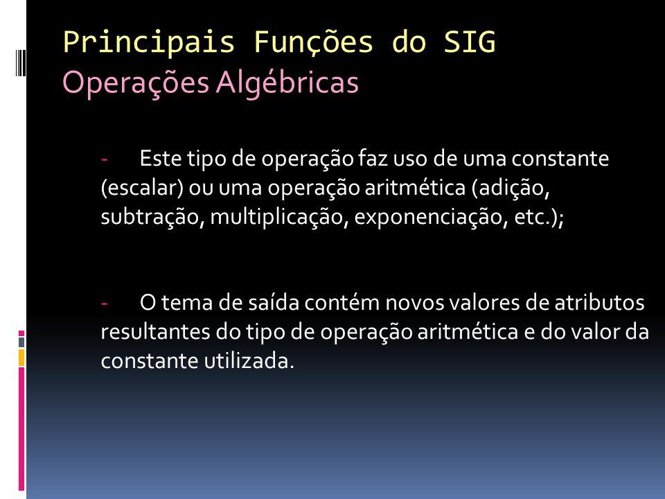 -Este tipo de operação faz uso de uma constante (escalar) ou uma operação aritmética (adição, subtração, multiplicação, exponenciação, etc.); -O tema de saída contém novos valores de atributos resultantes do tipo de operação aritmética e do valor da constante utilizada.