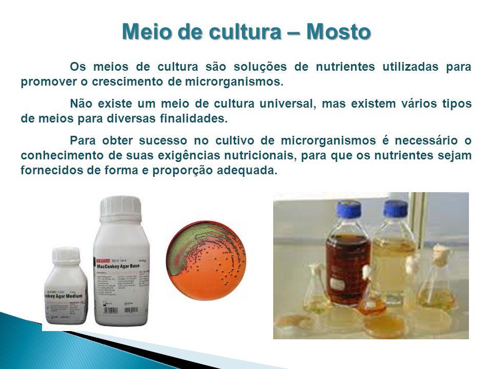 Meio de cultura – Mosto Os meios de cultura são soluções de nutrientes utilizadas para promover o crescimento de microrganismos. Não existe um meio de