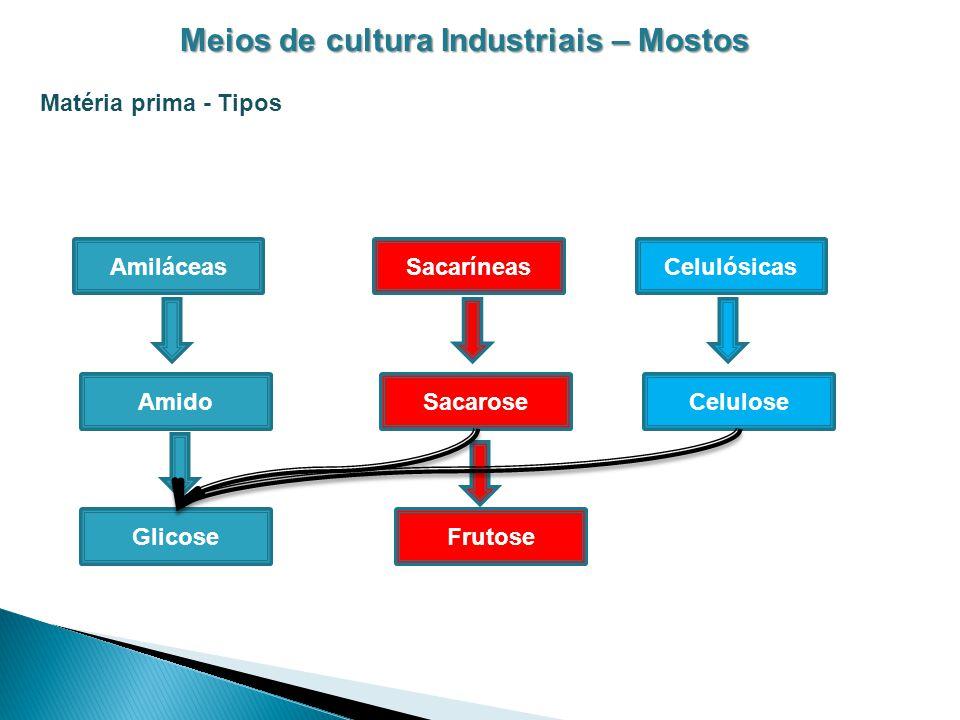 Meios de cultura Industriais – Mostos Matéria prima - Tipos Amiláceas Amido SacaríneasCelulósicas SacaroseCelulose GlicoseFrutose