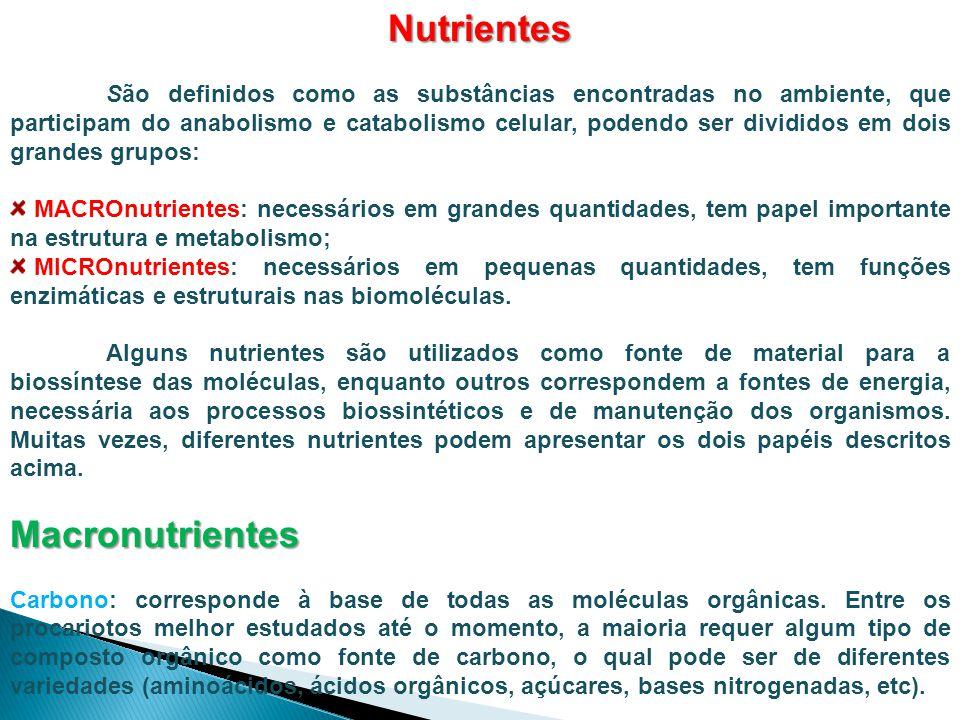 Nutrientes São definidos como as substâncias encontradas no ambiente, que participam do anabolismo e catabolismo celular, podendo ser divididos em doi