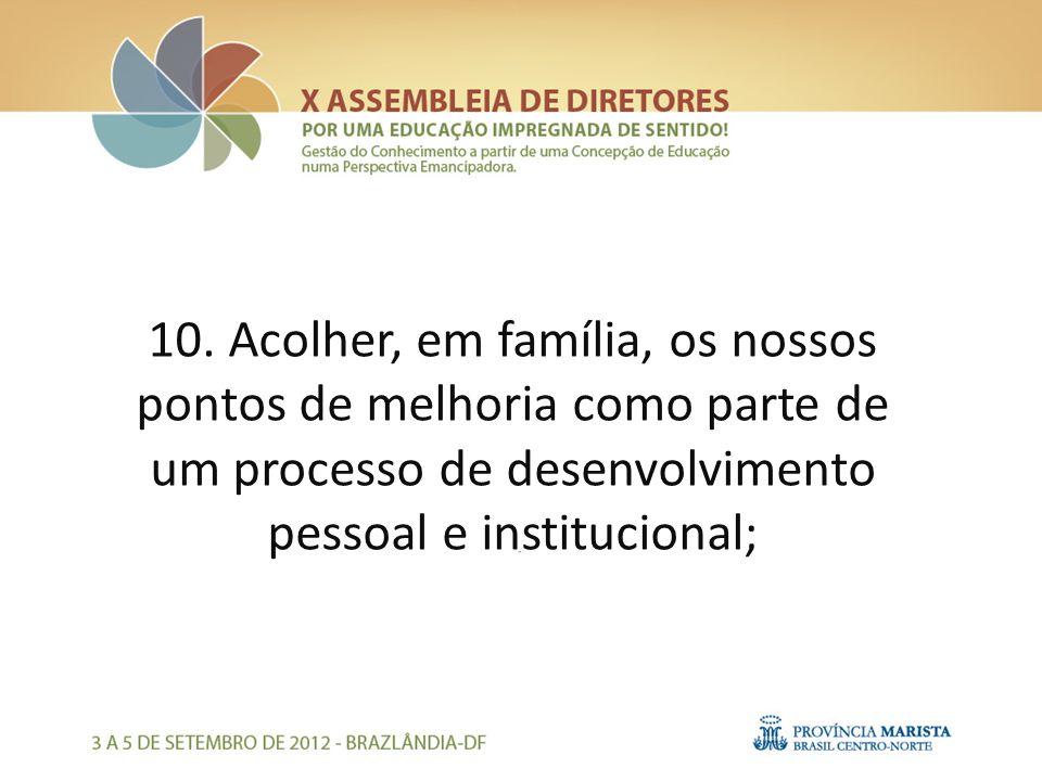 10. Acolher, em família, os nossos pontos de melhoria como parte de um processo de desenvolvimento pessoal e institucional;
