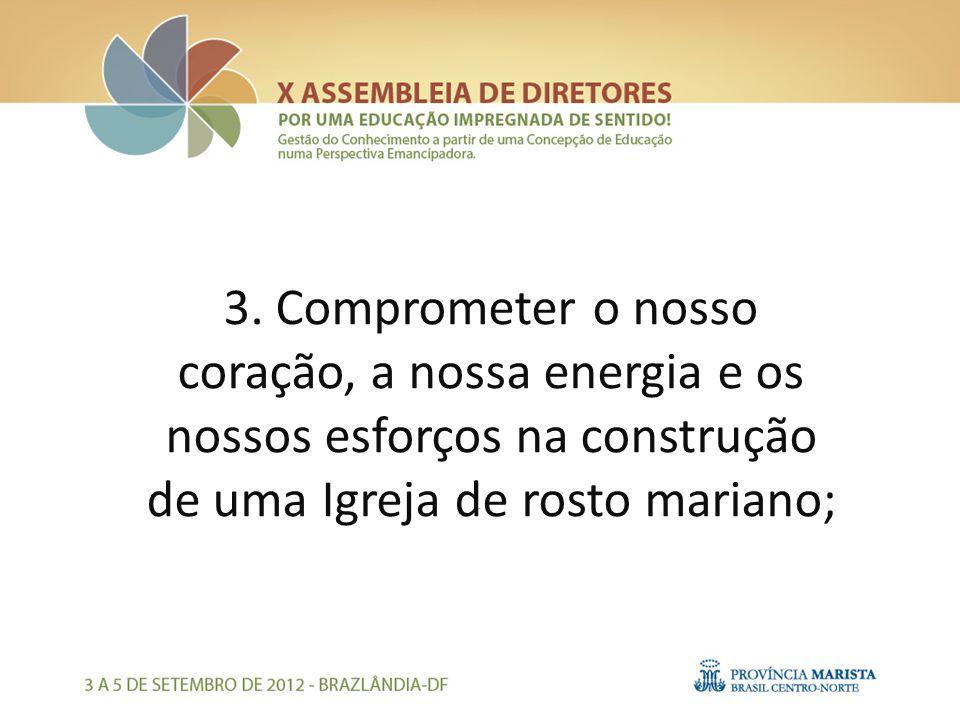 3. Comprometer o nosso coração, a nossa energia e os nossos esforços na construção de uma Igreja de rosto mariano;