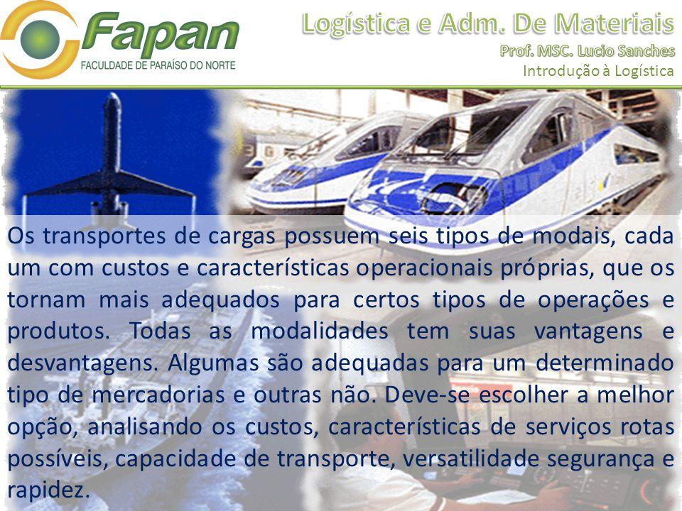 Os transportes de cargas possuem seis tipos de modais, cada um com custos e características operacionais próprias, que os tornam mais adequados para c