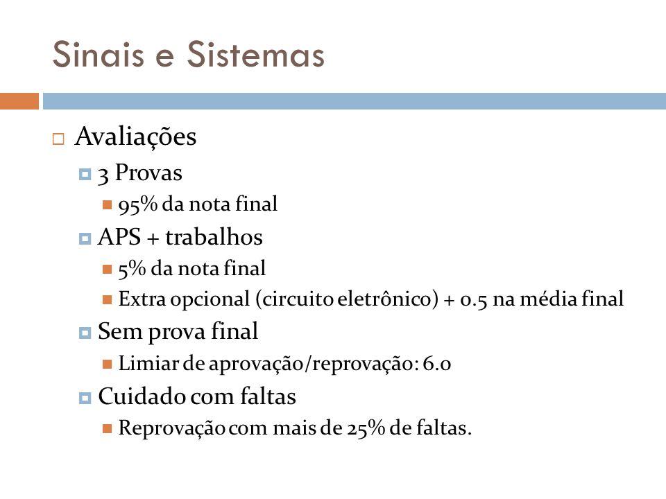 Sinais e Sistemas Avaliações 3 Provas 95% da nota final APS + trabalhos 5% da nota final Extra opcional (circuito eletrônico) + 0.5 na média final Sem
