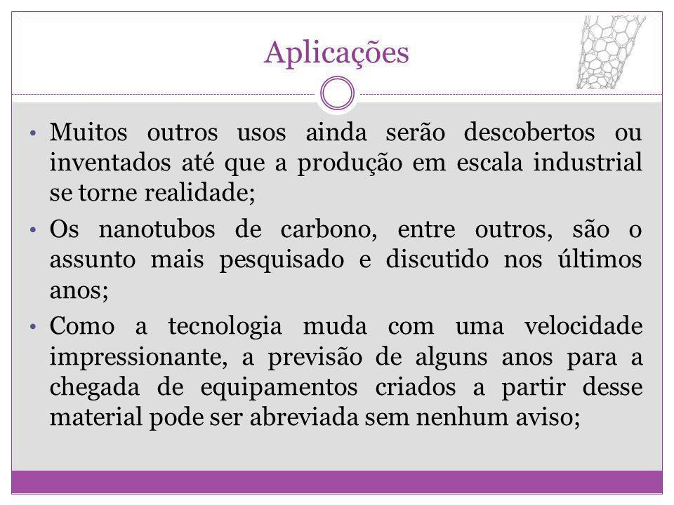 Aplicações Muitos outros usos ainda serão descobertos ou inventados até que a produção em escala industrial se torne realidade; Os nanotubos de carbon