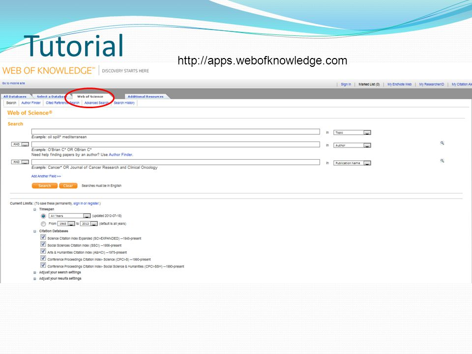 Tutorial http://apps.webofknowledge.com