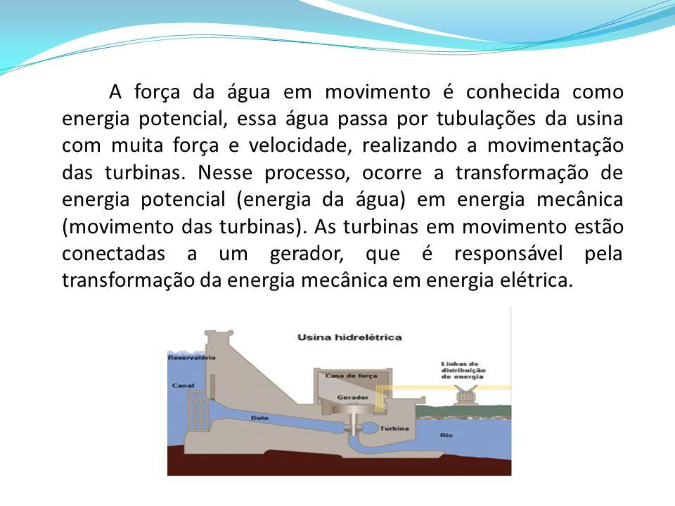 A força da água em movimento é conhecida como energia potencial, essa água passa por tubulações da usina com muita força e velocidade, realizando a mo