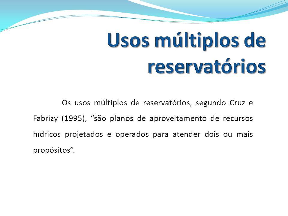 Os usos múltiplos de reservatórios, segundo Cruz e Fabrizy (1995), são planos de aproveitamento de recursos hídricos projetados e operados para atende