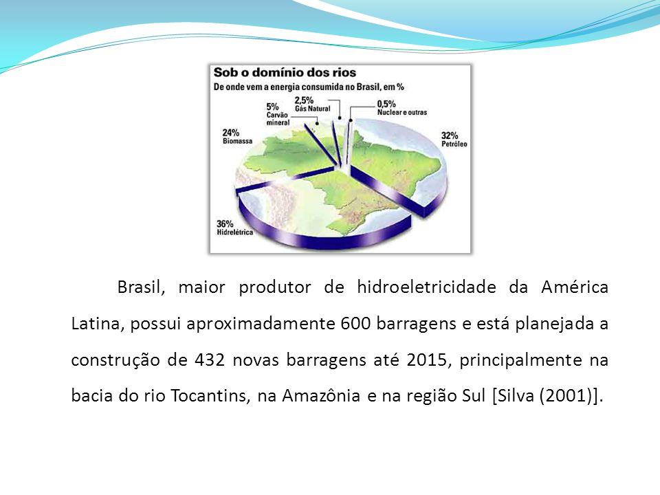 Brasil, maior produtor de hidroeletricidade da América Latina, possui aproximadamente 600 barragens e está planejada a construção de 432 novas barrage