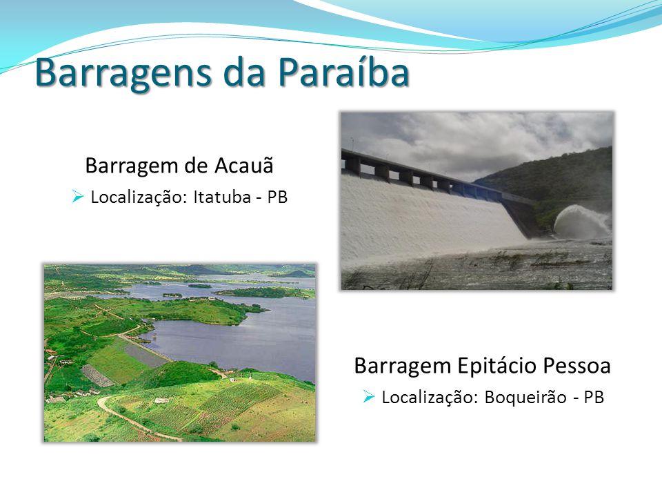 Barragens da Paraíba Barragem de Acauã Localização: Itatuba - PB Barragem Epitácio Pessoa Localização: Boqueirão - PB