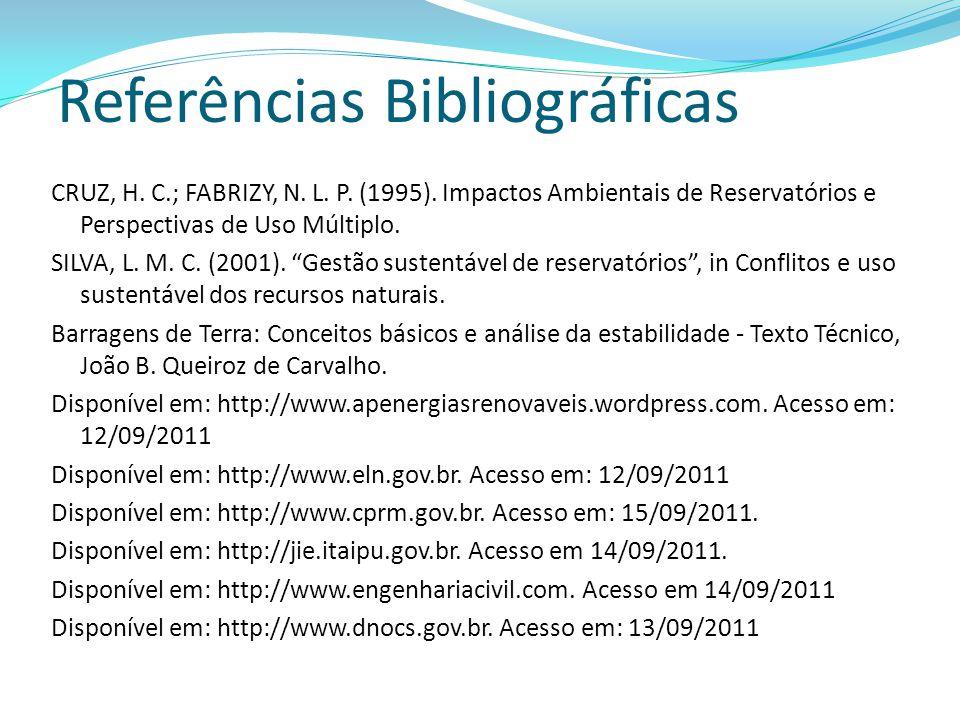 Referências Bibliográficas CRUZ, H. C.; FABRIZY, N. L. P. (1995). Impactos Ambientais de Reservatórios e Perspectivas de Uso Múltiplo. SILVA, L. M. C.