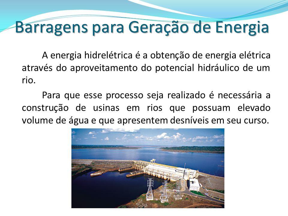 A energia hidrelétrica é a obtenção de energia elétrica através do aproveitamento do potencial hidráulico de um rio. Para que esse processo seja reali