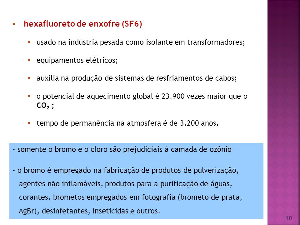 10 hexafluoreto de enxofre (SF6) usado na indústria pesada como isolante em transformadores; equipamentos elétricos; auxilia na produção de sistemas d