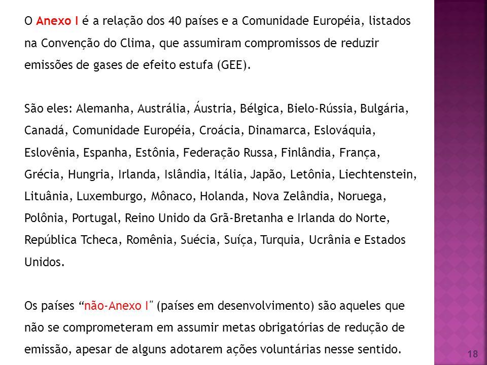 18 O Anexo I é a relação dos 40 países e a Comunidade Européia, listados na Convenção do Clima, que assumiram compromissos de reduzir emissões de gase