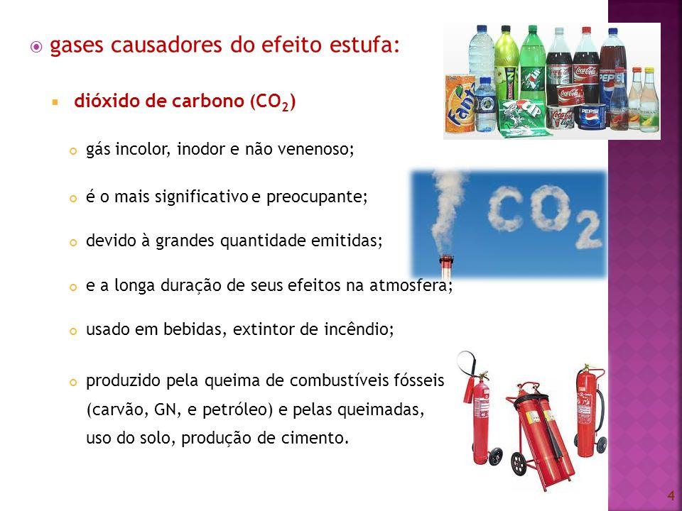 gases causadores do efeito estufa: dióxido de carbono ( CO 2 ) gás incolor, inodor e não venenoso; é o mais significativo e preocupante; devido à gran
