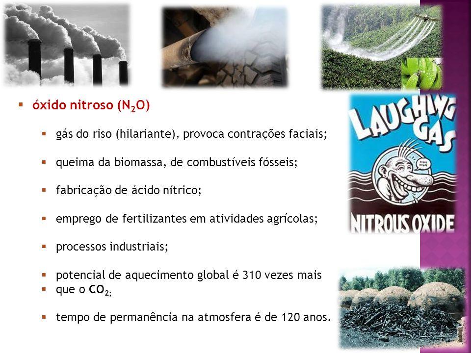 7 óxido nitroso (N 2 O) gás do riso (hilariante), provoca contrações faciais; queima da biomassa, de combustíveis fósseis; fabricação de ácido nítrico