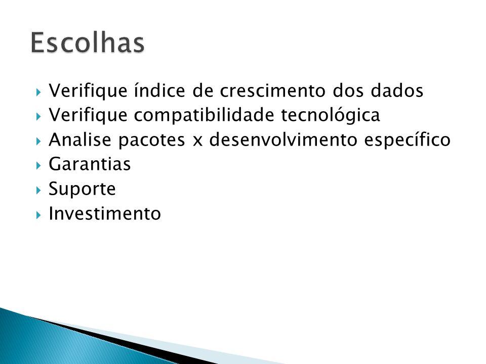 Verifique índice de crescimento dos dados Verifique compatibilidade tecnológica Analise pacotes x desenvolvimento específico Garantias Suporte Investimento