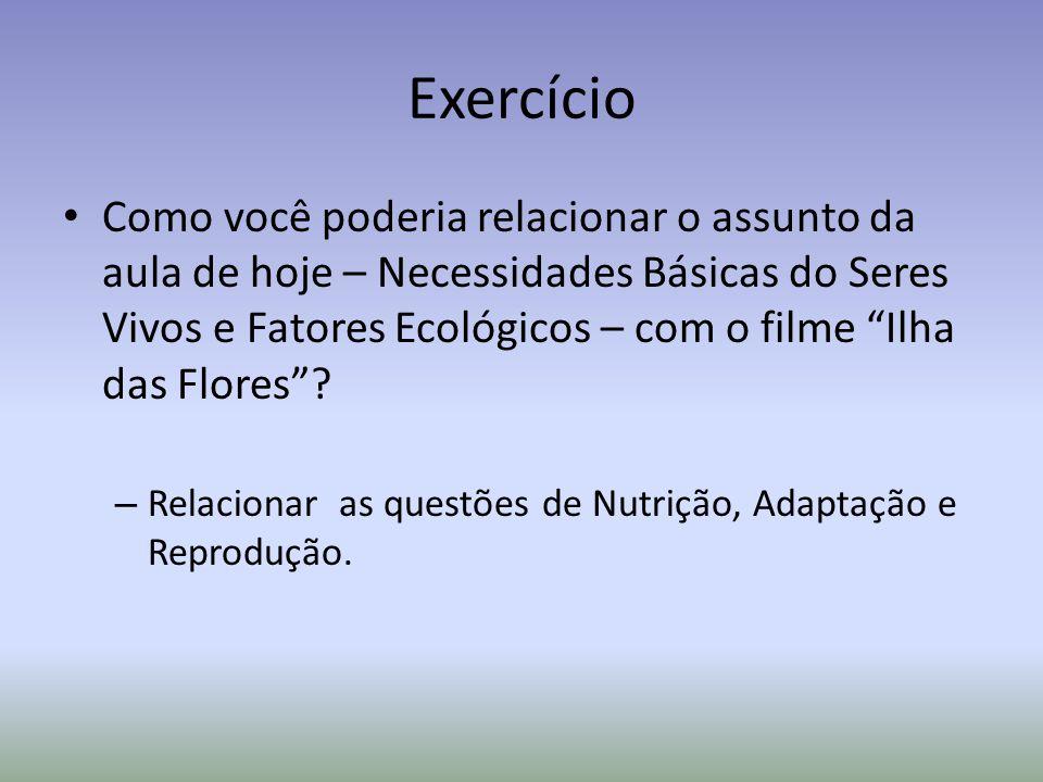 Exercício Como você poderia relacionar o assunto da aula de hoje – Necessidades Básicas do Seres Vivos e Fatores Ecológicos – com o filme Ilha das Flores.