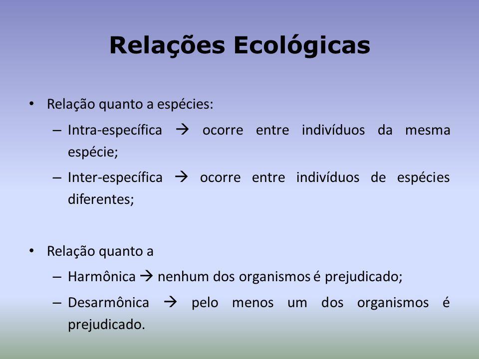Relações Ecológicas Relação quanto a espécies: – Intra-específica ocorre entre indivíduos da mesma espécie; – Inter-específica ocorre entre indivíduos de espécies diferentes; Relação quanto a – Harmônica nenhum dos organismos é prejudicado; – Desarmônica pelo menos um dos organismos é prejudicado.