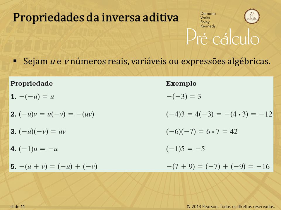 © 2013 Pearson. Todos os direitos reservados.slide 11 Propriedades da inversa aditiva Sejam u e v números reais, variáveis ou expressões algébricas.