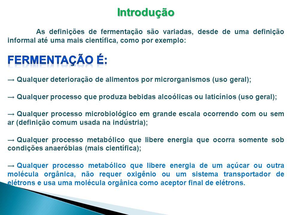 Nós definiremos fermentação como um processo que: 1)Libera energia de açúcares ou moléculas orgânicas, tais como aminoácidos, ácidos orgânicos, purinas e pirimidinas; 2)Não requer oxigênio (processo anaeróbio), entretanto em alguns processos ocorre na presença de oxigênio (processo aeróbio); 3)Não requer o uso do ciclo de Krebs (embora no processo aeróbio seja usado) ou de uma cadeia transportadora de elétrons; 4)Utiliza uma molécula orgânica como aceptor final de elétrons (alguns microrganismos utilizam moléculas inorgânicas); 5)Produz quantidades pequenas de ATP (somente uma ou duas moléculas de ATP por molécula de material inicial), porque grande parte da energia original da glicose fica retida nas ligações químicas do produto final.