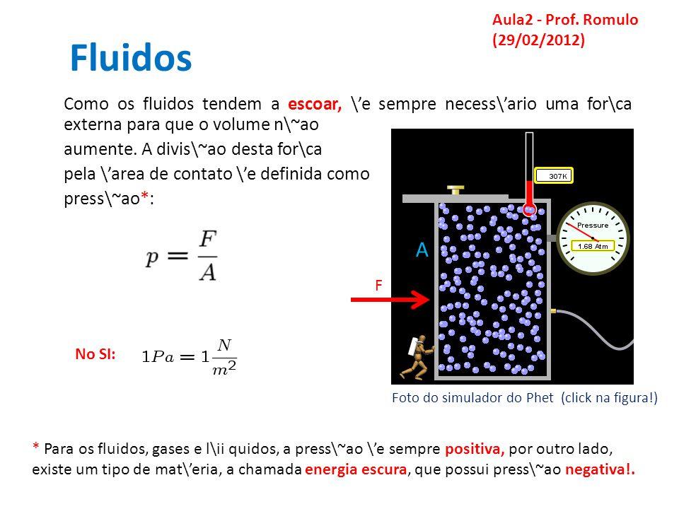 Fluidos Como os fluidos tendem a escoar, \e sempre necess\ario uma for\ca externa para que o volume n\~ao aumente.