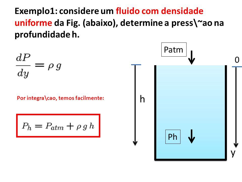 Exercicio 1: considere que um fluido hipot\etico, que possui uma densidade n\~ao uniforme, dada pela seguinte express\~ao: 0 Patm y Ph h determine a press\~ao Ph, em temos dos par\^ametros do problema.