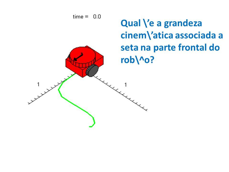 Qual \e a grandeza cinem\atica associada a seta na parte frontal do rob\^o?
