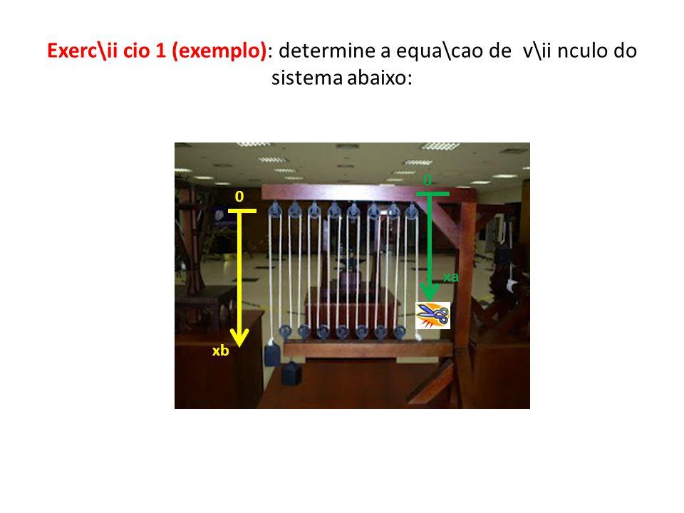 Exerc\ii cio 1 (exemplo): determine a equa\cao de v\ii nculo do sistema abaixo: 0 xb xa 0