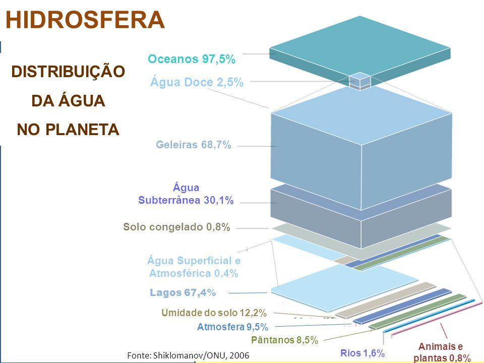 Oceanos 97,5% Água Doce 2,5% Geleiras 68,7% Água Subterrânea 30,1% Solo congelado 0,8% Água Superficial e Atmosférica 0,4% Umidade do solo 12,2% Rios