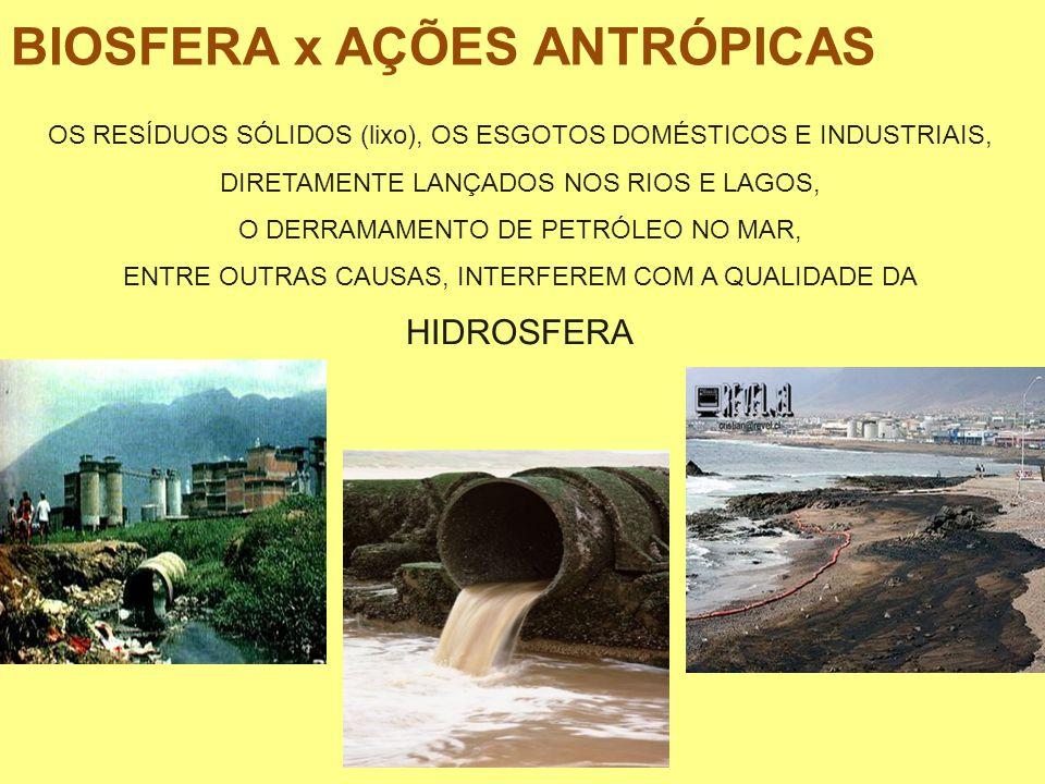 OS RESÍDUOS SÓLIDOS (lixo), OS ESGOTOS DOMÉSTICOS E INDUSTRIAIS, DIRETAMENTE LANÇADOS NOS RIOS E LAGOS, O DERRAMAMENTO DE PETRÓLEO NO MAR, ENTRE OUTRA