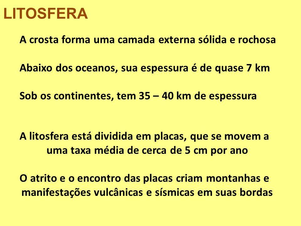 LITOSFERA A crosta forma uma camada externa sólida e rochosa Abaixo dos oceanos, sua espessura é de quase 7 km Sob os continentes, tem 35 – 40 km de e