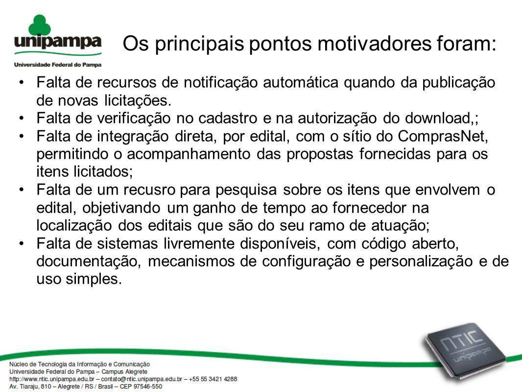 Os principais pontos motivadores foram: Falta de recursos de notificação automática quando da publicação de novas licitações. Falta de verificação no