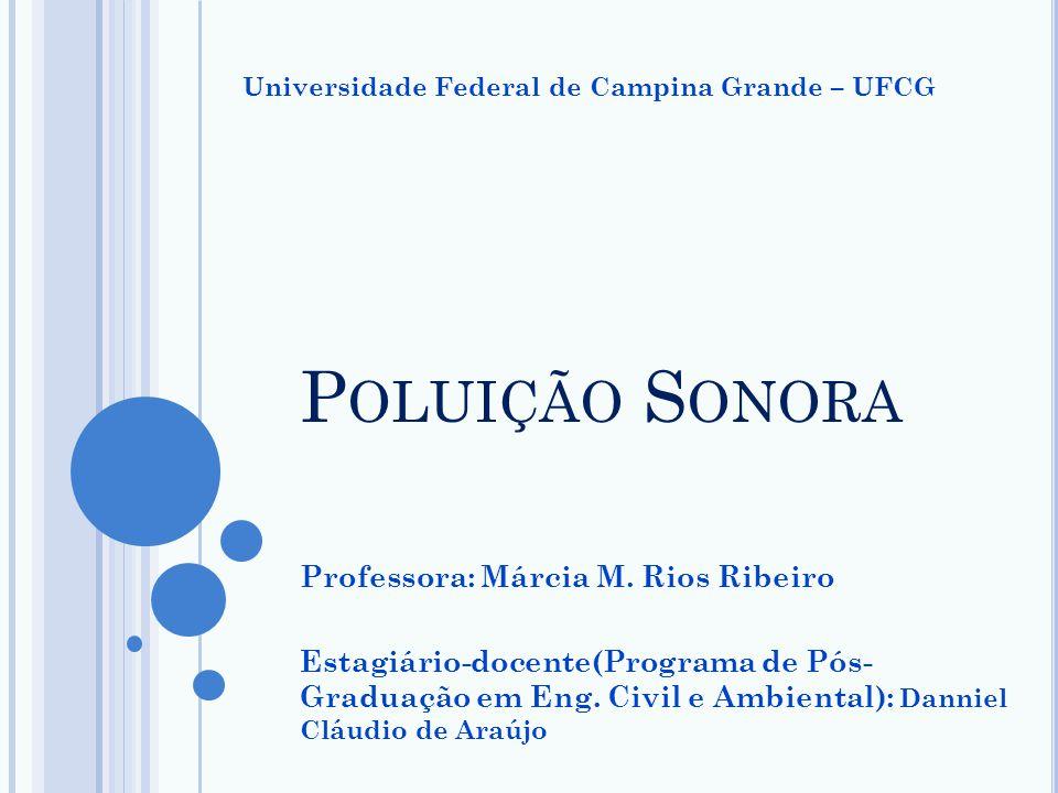 Professora: Márcia M. Rios Ribeiro Estagiário-docente(Programa de Pós- Graduação em Eng. Civil e Ambiental): Danniel Cláudio de Araújo P OLUIÇÃO S ONO