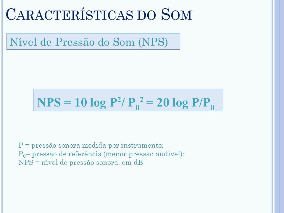 C ARACTERÍSTICAS DO S OM Nível de Pressão do Som (NPS) NPS = 10 log P 2 / P 0 2 = 20 log P/P 0 P = pressão sonora medida por instrumento; P 0 = pressã