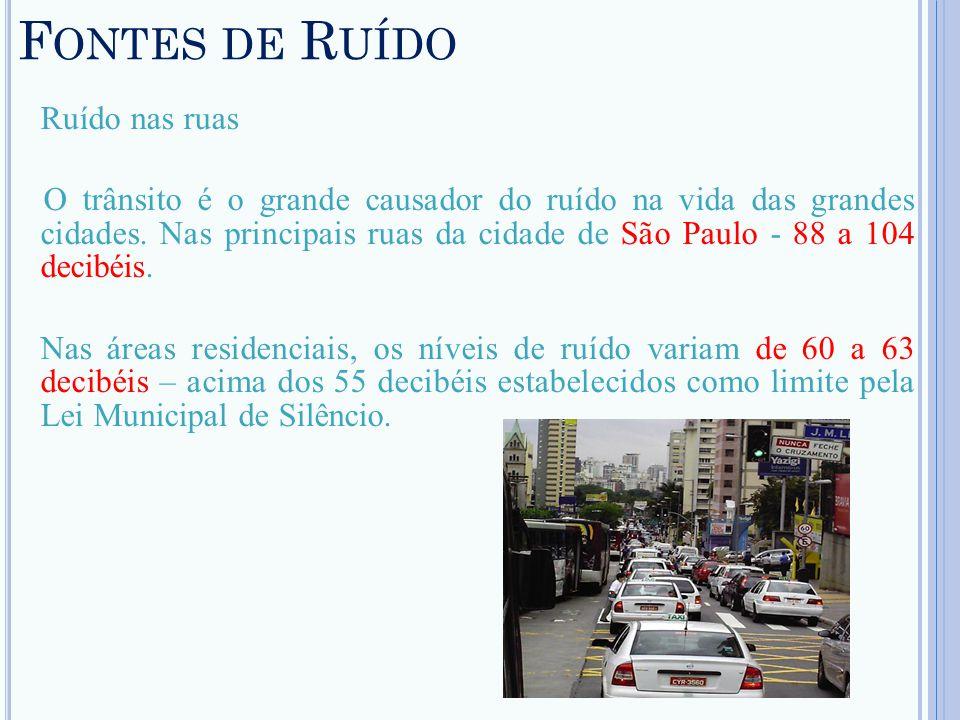 F ONTES DE R UÍDO Ruído nas ruas O trânsito é o grande causador do ruído na vida das grandes cidades. Nas principais ruas da cidade de São Paulo - 88