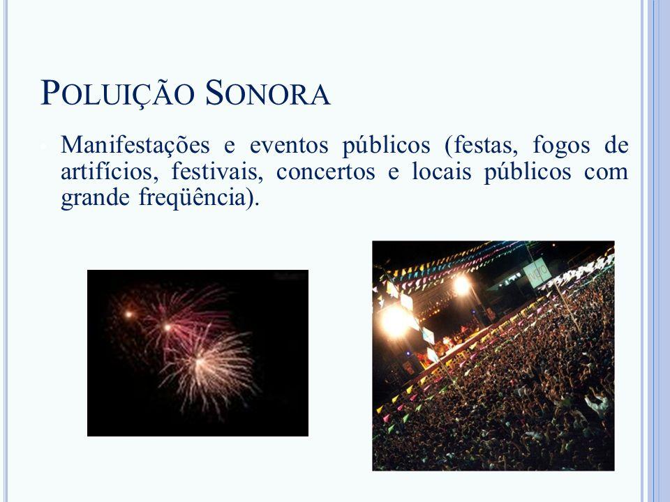 P OLUIÇÃO S ONORA Manifestações e eventos públicos (festas, fogos de artifícios, festivais, concertos e locais públicos com grande freqüência).