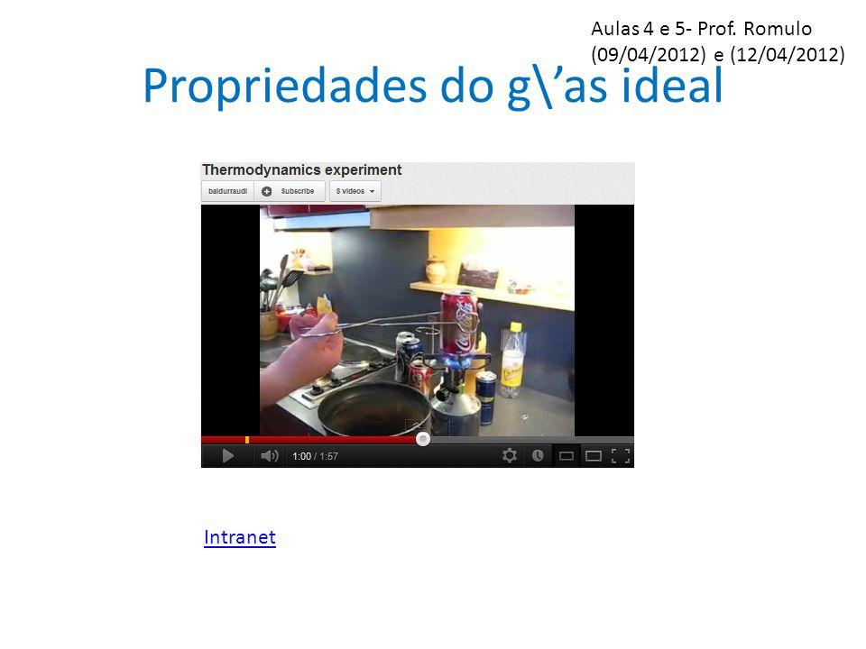 Propriedades do g\as ideal PV=nRT, com R=8,31J/(mol K) Os experimentos revelam que: Como explicar o video?: