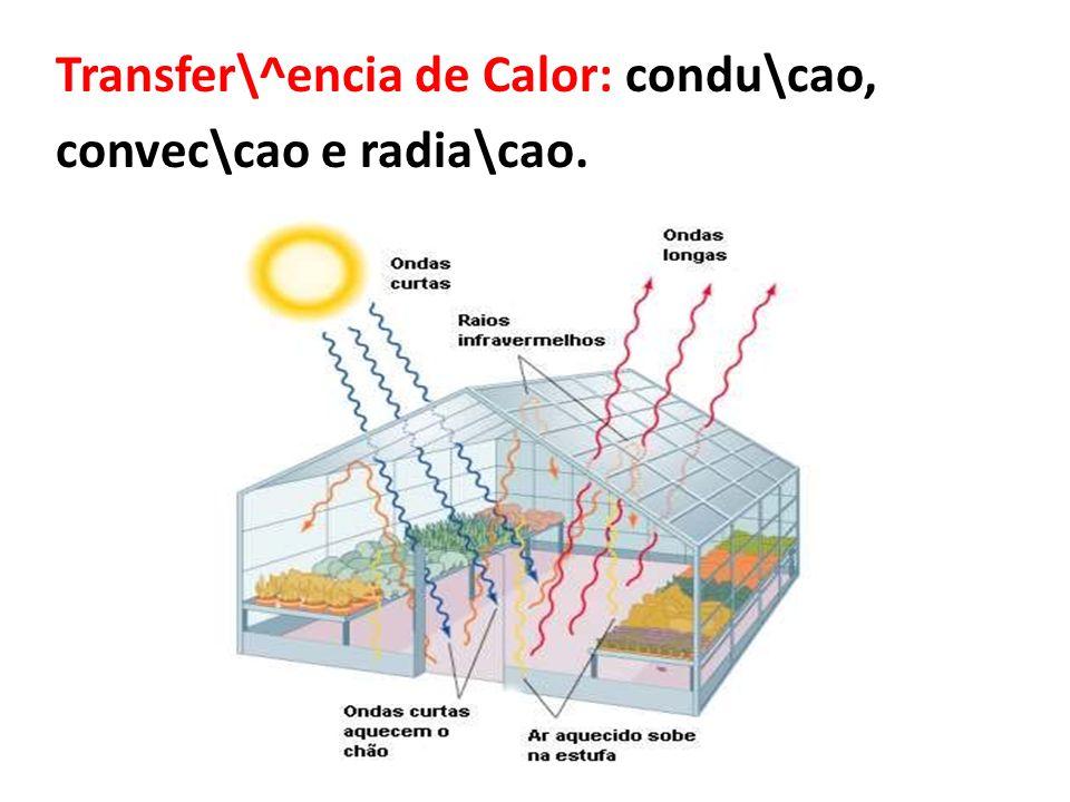 Transfer\^encia de Calor: condu\cao, convec\cao e radia\cao.