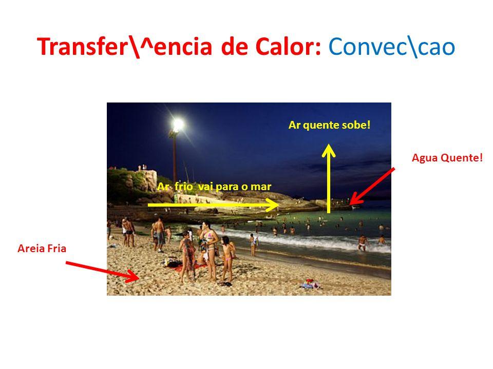 Transfer\^encia de Calor: Convec\cao Agua Quente! Areia Fria Ar quente sobe! Ar frio vai para o mar
