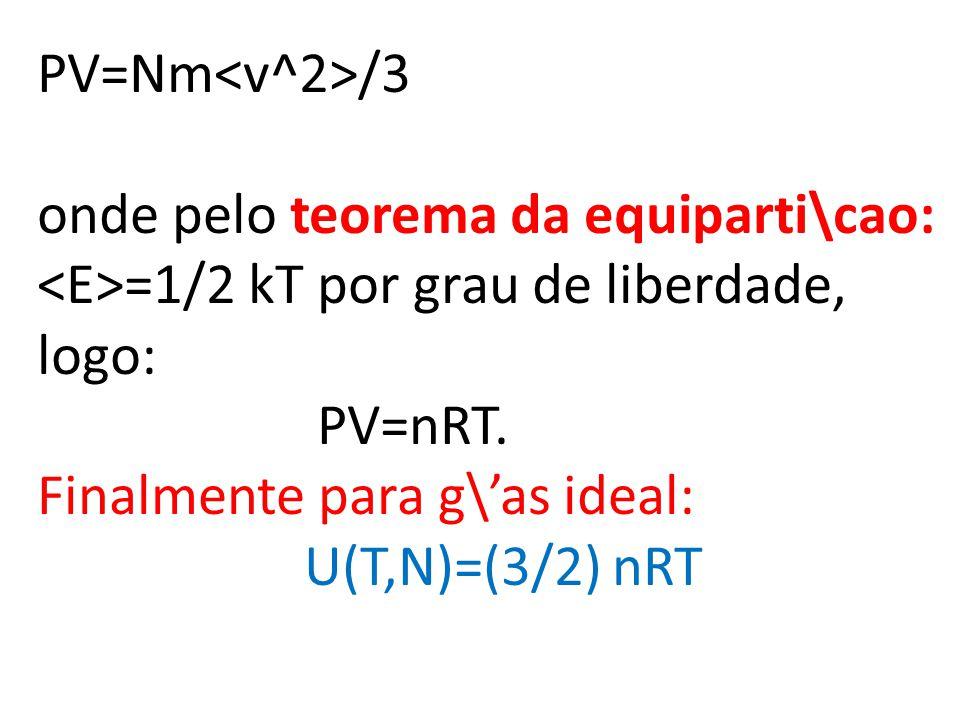PV=Nm /3 onde pelo teorema da equiparti\cao: =1/2 kT por grau de liberdade, logo: PV=nRT.