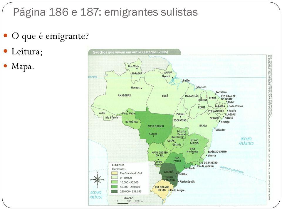 Página 186 e 187: emigrantes sulistas O que é emigrante? Leitura ; Mapa.