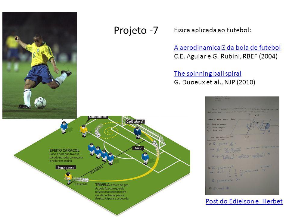 Projeto -7 Post do Edielson e Herbet Fisica aplicada ao Futebol: A aerodinamica ˆ da bola de futebol C.E.