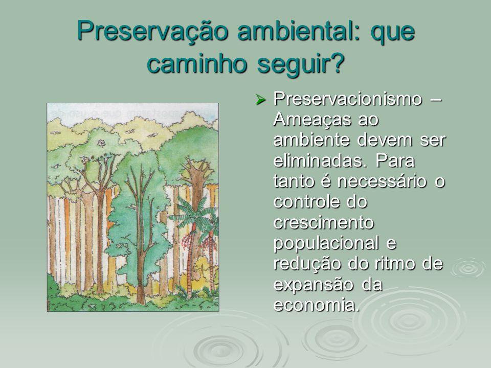 Preservação ambiental: que caminho seguir? Preservacionismo – Ameaças ao ambiente devem ser eliminadas. Para tanto é necessário o controle do crescime